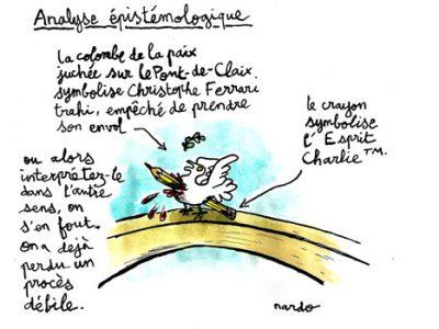 Dessin de presse de Nardo suite à la condamnation en première instance du journal satirique Le Postillon.