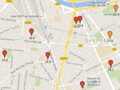 Carte des effectifs dans les écoles maternelles et primaires de la ville de Grenoble © placegrenet.fr