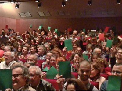 Grand Oral d'Eric Piolle organisé par Sciences Po Grenoble au théâtre municipal. © Joël Kermabon - placegrenet.fr