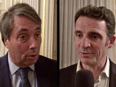 Michel Destot et Eric Piolle à la préfecture de l'Isère le soir du résultat du second tour des départementales. © Photomontage placegrenet.fr