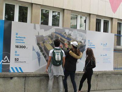 UNE Lancement en juillet 2017 des travaux de démolition-reconstruction du lycée Mounier.© Séverine Cattiaux - Place Gre'net
