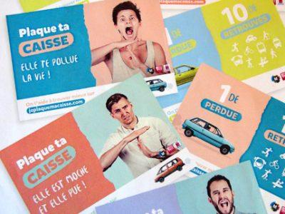 Visuel de la campagne de communication de l'expérimentation « Plaque ta caisse ». © SMTC