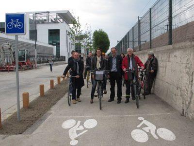 UNE Inauguration du réseau express vélo, le 25 avril 2017, rue Henri Tarze © Séverine Cattiaux - Place Gre'net