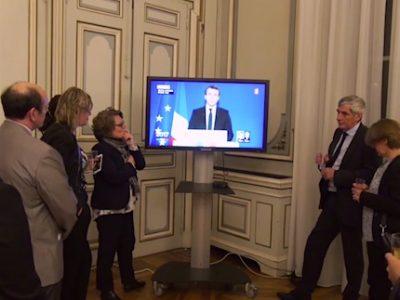 Soirée électorale du second tour de la présidentielle à la préfecture de l'Isère le 7 mai 2017. © Joël Kermabon - placegrenet.fr