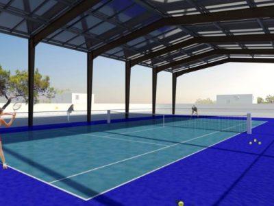 La start-up Alcelia souhaite développer un projet innovant de couvertures photovoltaïques pour infrastructures sportives en manque de financement.Projection de l'infrastructure photovoltaïque envisagée au-dessus des équipements sportifs par Alcelia.
