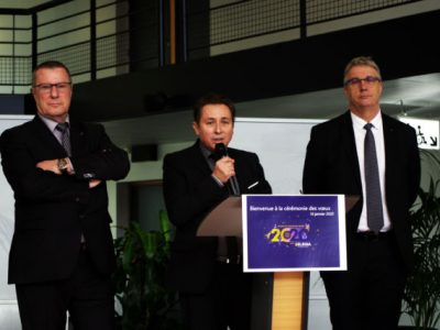 Les dirigeants d'Elegia ont présenté leurs voeux et le bilan de la société mardi 21 janvier. De gauche à droite : Christian Coigné (PDG d'Isère Aménagement), Christian Breuza (DG d'Elegia) et Jean-Pierre Barbier (Président d'Elegia). © Anissa Duport-Levanti