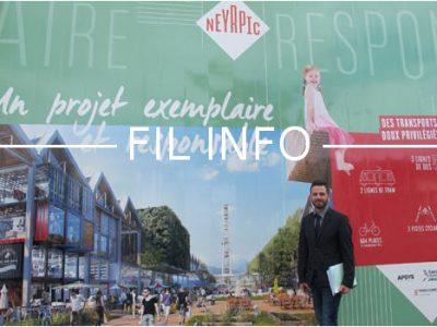 Fil info - David Queiros, maire de Saint Martin d'Hères, devant l'affiche du projet Neyrpic, futur pôle commercial et de loisirs © Séverine Cattiaux - placegrenet.fr