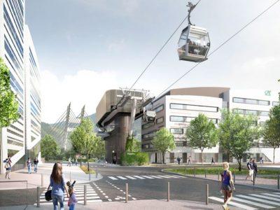 Représentation du métrôcâble à la station Oxford (Grenoble )